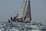 Crew members on board yacht competing in team sailing event, California