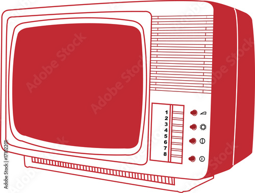 Red old TV on white background