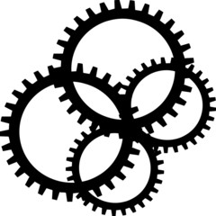 Black sprocket on white background