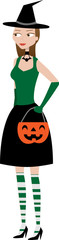 Halloween Witchy Woman holding pumpkin candy holder