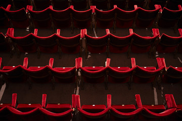 Empty theatre stalls, high angle view