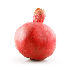 Ripe Red Pomegranate Fruit Isolated on White