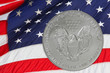 Silver Coin and USA Flag