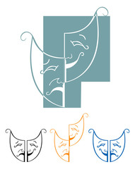 Tragedy and comedy masks vector illustration