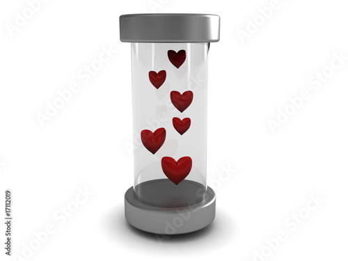 hearts in glass tube