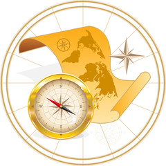 Map of the world and compass
