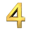 3d number 4 in gold