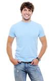 Portrait of smiling happy glad guy poster