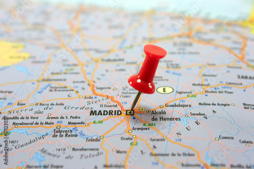 Destination: Madrid. Map with a red pin pointing at Madrid
