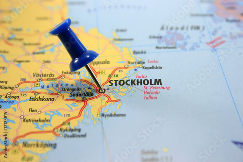 Destination: Stockholm. Map with a blue pin at Stockholm