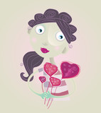 Flowers to mommy. Vector Illustration of woman with flowers. poster