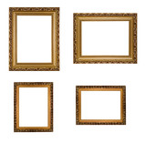 Collage of carved vertical and horizontal golden wooden frames
