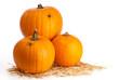 Three Pumpkins On Straw
