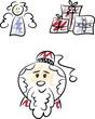 Clipart-Set: Weihnachstmann, Engel und Geschenke