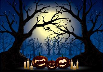 funny pumpkins on a dark halloween night