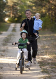 Father and Sons going for Bike Ride and Hike poster