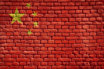 Grunge Chinese flag on wall