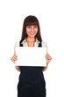 businesswoman holding a cardboard