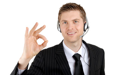 Customer service support operator giving okay sign