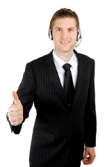 Customer service operator giving thumbs up