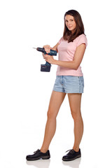 girl with cordless screwdriver VI