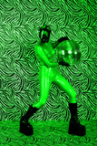 Toxic disco girl in night vision effect
