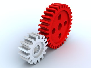 small gear from metal and big gear from red plastic