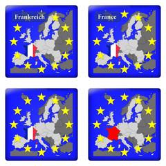 3D-Button Europäische Union - Frankreich