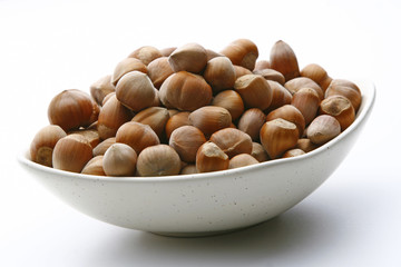 Haselnut on the white background