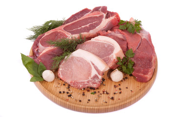 Meat allsorts on a round board