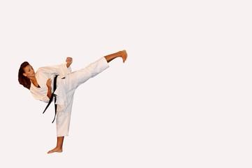 Karate left leg kick