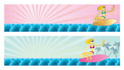 Surfer girl banners
