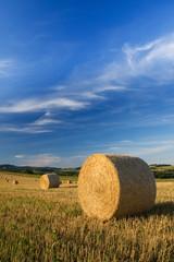 Wideangle shot of bale on field