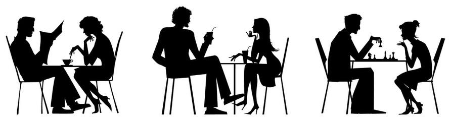 Couple silhouettes near table