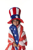 Little boy dresses as uncle Sam poster