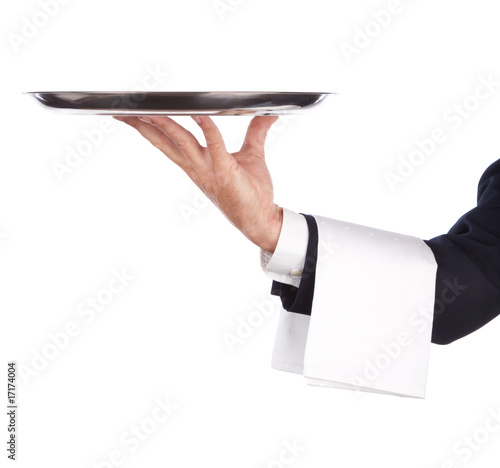 Leinwanddruck Bild waiter with tray