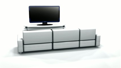 3D animation lounge black televison white sofa