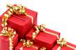 Cadeaux de Noël sur fond blanc