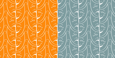 Seamless theatrical pattern in orange and blue