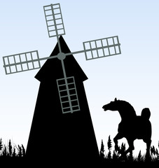 Illustration of horse and windmill