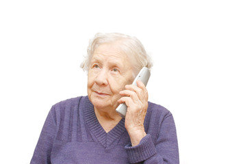 grandmother talking with a  phone