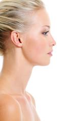 Profile portrait of healthy caucasian blonde woman
