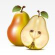 Two yellow pears on a white background