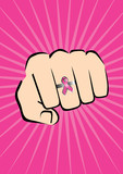 Fight against breast cancer (Fist with breast cancer ring) poster