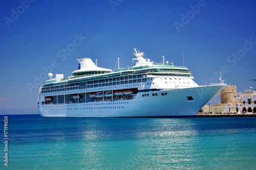 Cruise ship in the Mediterranean Sea.