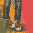 roleta: background with jeans and sneakers