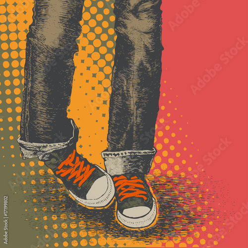 Fototapeta background with jeans and sneakers