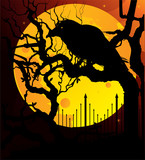 Raven on yellow moon poster