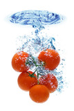 Tomato splashing in water