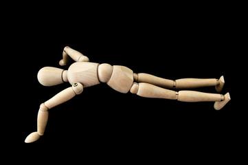 Hombre de madera haciendo flexiones